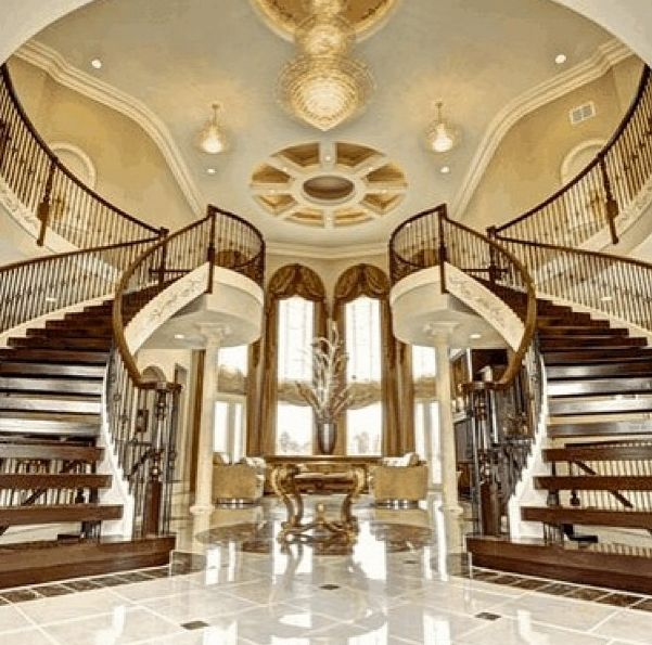 17 best images about double staircase on pinterest for Mansion foyer designs