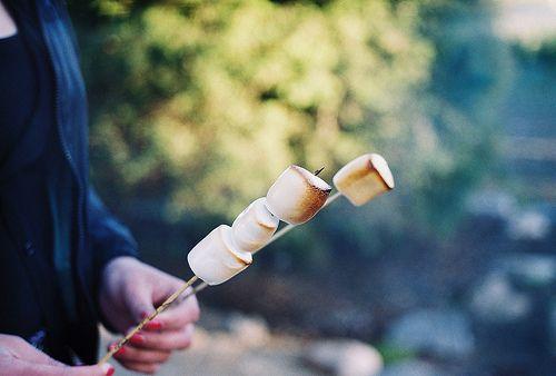 marshmallows on fire