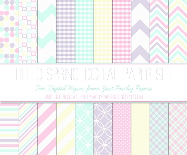 "Just Peachy Designs: Free ""Hello Spring"" Digital Paper Set"