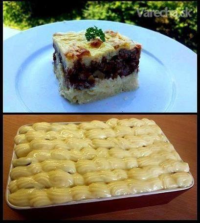Zapečené mleté mäso so zemiakovo syrovou kašou