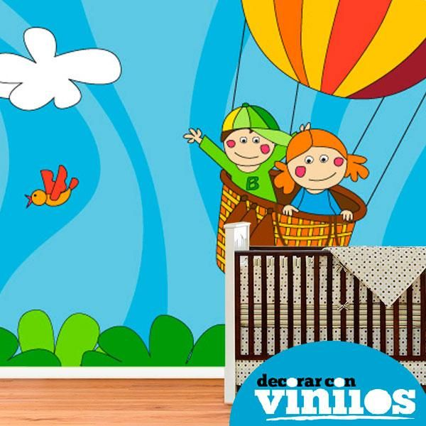 fotomural infantil en vinilo decorativo de niños en globo illustrado por Fina Gibert. Mira más diseños en http://www.decorarconvinilos.com/fotomural_infantil