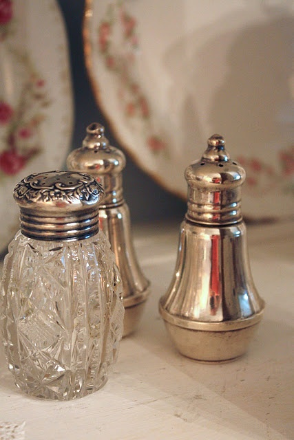 beautiful old sterling silver salt and pepper shakers