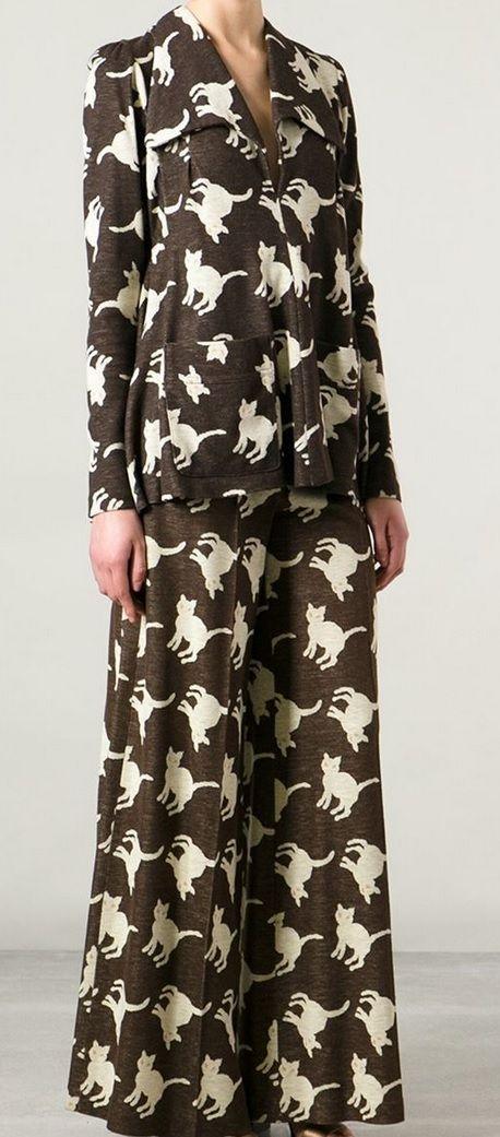 Biba cat print suit from Decades on Farfetch.com