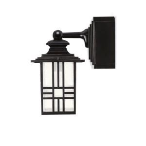 Mission Style Outdoor Black With Bronze Highlight Wall Lantern With Built In