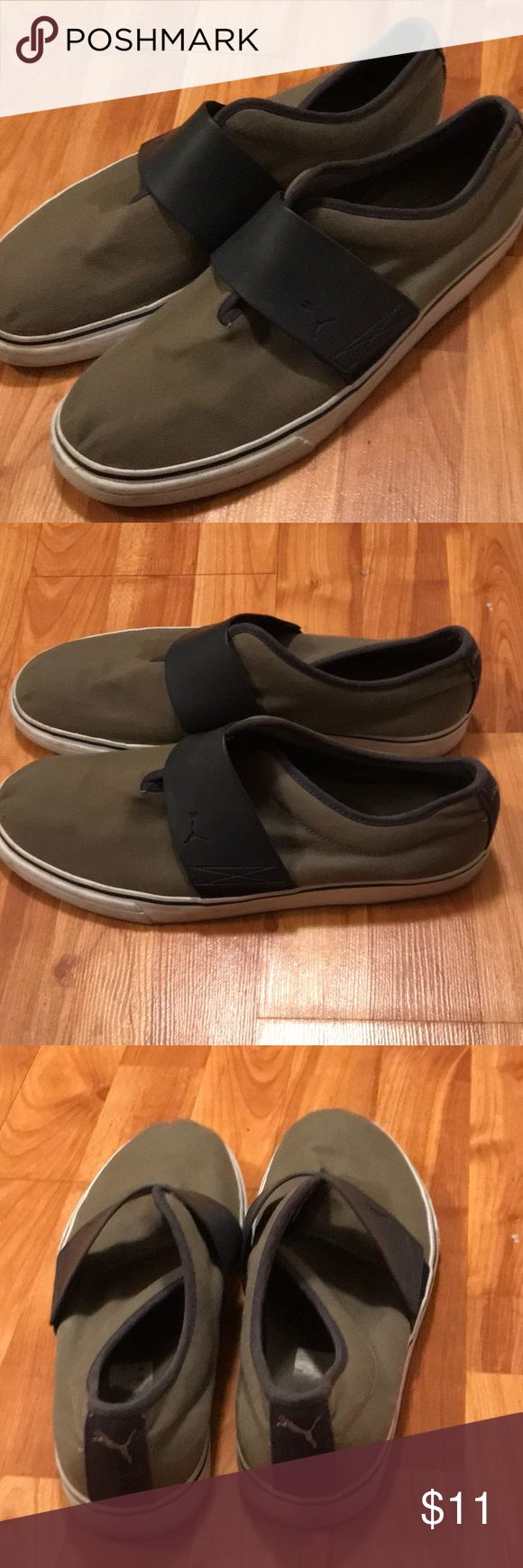 Olive Green Puma Shoes Olive Green/ Navy Blue Comfy Puma Slideon Shoes Puma Shoes Loafers & Slip-Ons