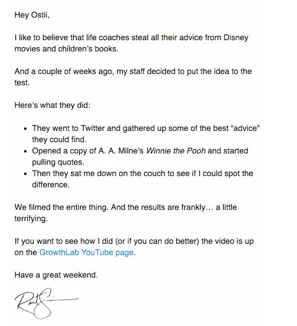 Email template - Life coach or Winnie the Pooh? - Ramit Sethi