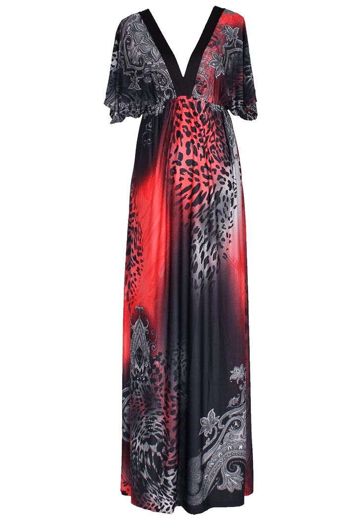 Women Maxi Dress Plus Size Clothing Summer Leopard Print Deep V With Sleeves (3X, Red/ Black)