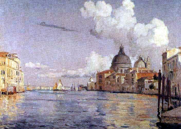 """Alberto Valenzuela Llanos (Chile, 1856-1909) """"Vista del Gran Canal"""" de Venecia"""