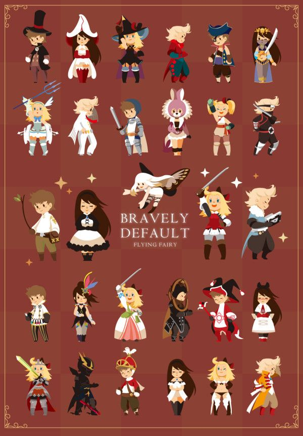 Love this Bravely Default piece depicting all the jobs by hamukatsu9! Nice and clean. Would make a great poster.