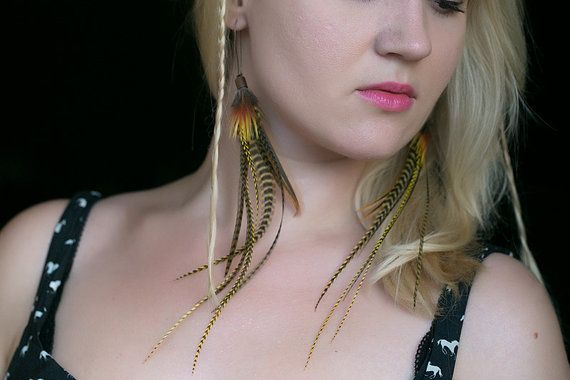 Long feather earrings bohemian jewelry by NatureFeatherJewelry