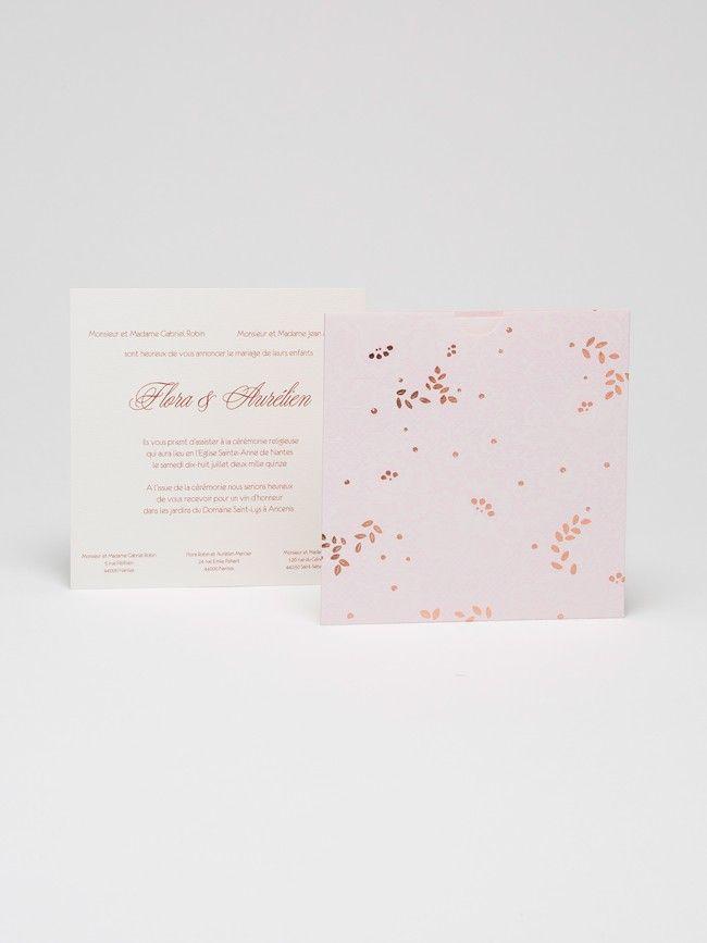 FAIRE PART DE MARIAGE / WEDDING  INVITATION - DENTELLE Rose pâle - Atelier 225