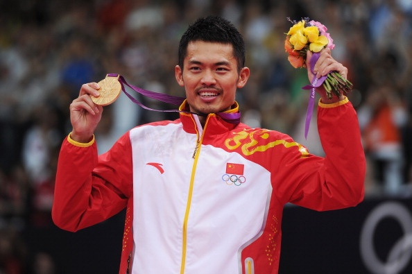 Lin Dan celebrates Olympic victory
