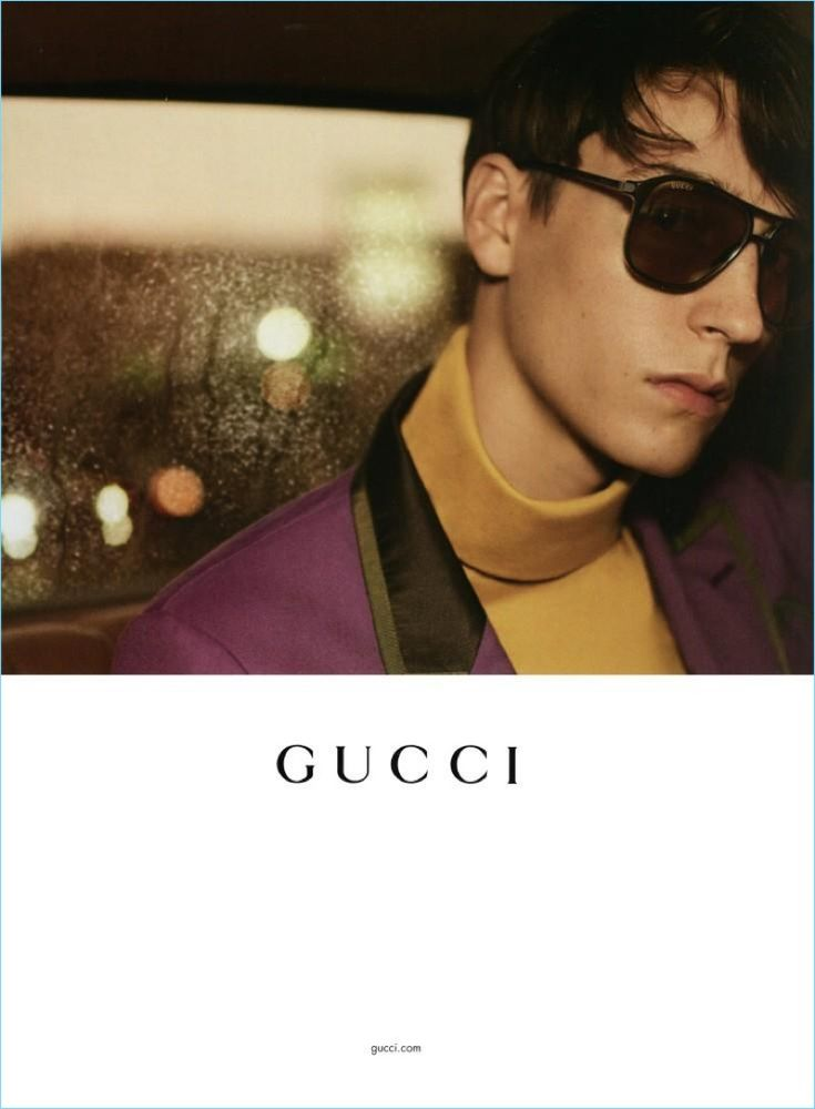 Starring in Gucci's spring-summer 2017 eyewear campaign, Nick Fortna sports aviator sunglasses $415.