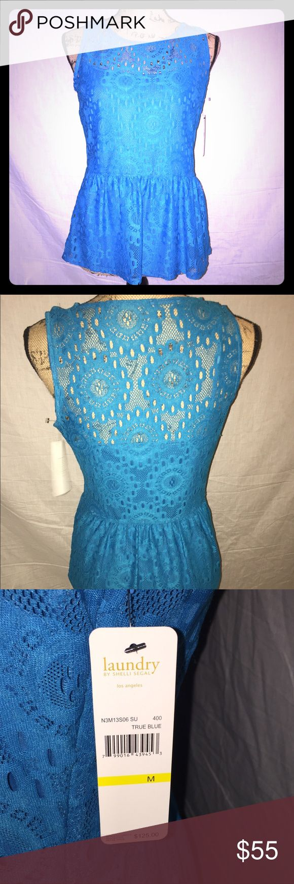 "Laundry by Shelli Segal True Blue Blouse NWT NWT - never worn. Pretty blue Blouse. Shell made of 96% nylon and 4% spandex. Lining 100% polyester. Shoulder 12"" / chest 34"" / length 24"" Laundry by Shelli Segal Tops Blouses"