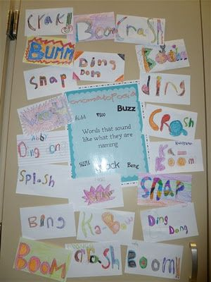 Figurative Language; onomatopoeia; I gave each group a different photo (amusement park, NASCAR race, and busy kitchen) and they brainstormed words. The students were very engaged.