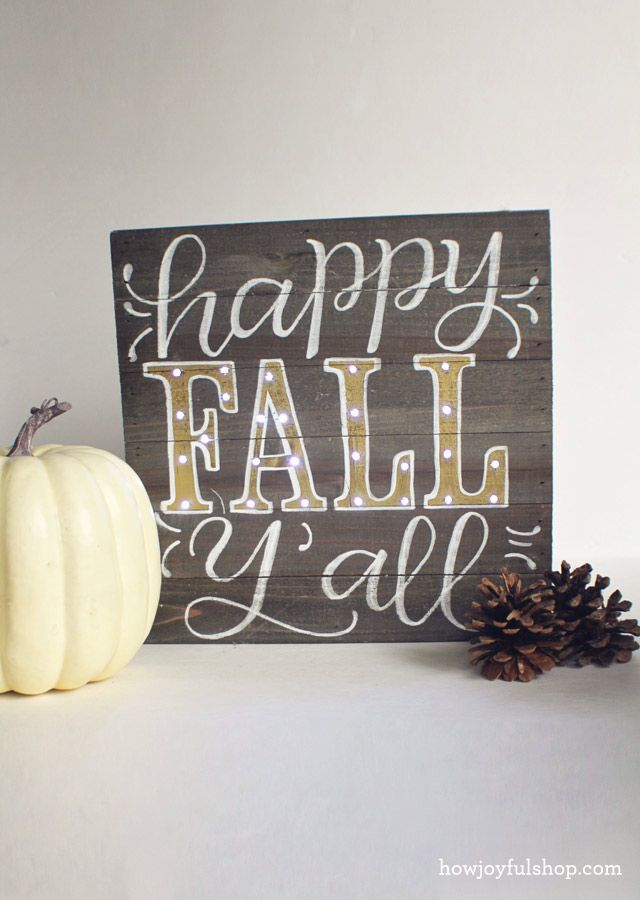 How Joyful | Happy fall y'all – Hacked wood sign box with lights