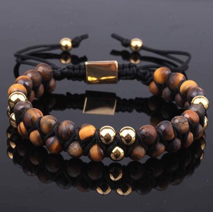 PRE-ORDER : Frosted Brown Tiger Eye Double Beaded Bracelet 6mm