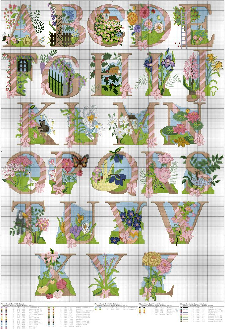 Cross stitch / Point de croix / Punto de cruz / Punto croce - alphabet / abécédaire / abecedario / alfabeto - Flowers
