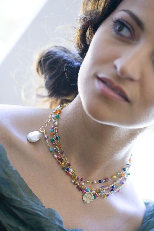 Raindrops - multicolor gemstones necklace.