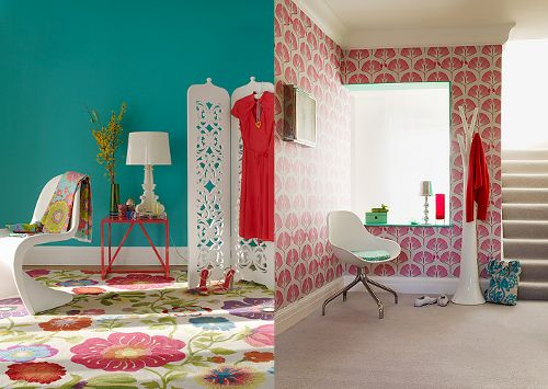 I totally dig the use of gigantic prints with bright solids. love love LOVE THE CARPET!