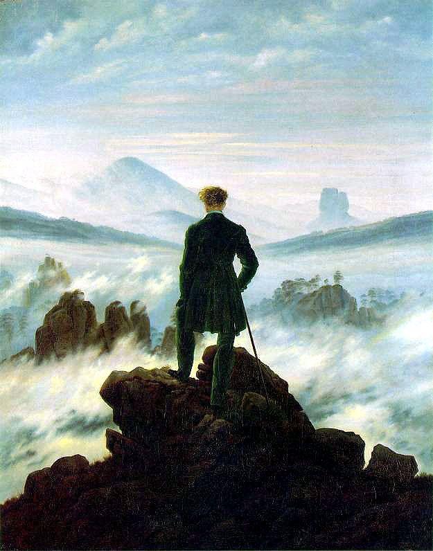 op dit schilderij is er spraken van: de man op de berg vooraan is donker in vergelijking met de berg op de achtergrond - groot/klein: de man op de berg vooraan is veel groter dan derest op de schilderij. - gedetailleerd/vaag op de voorgrond is de man op de berg veel meer in detail dan bijvoorbeeld de bergen op de achtergrond. - overlapping de bergen en lucht op de achtergrond worden overlapt door de man met de berg. - afsnijding de berg op de voorgrond is alleen de punt derest is weggelaten.