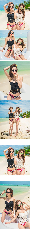 2016 New South Korean Sexy Lace Rose Bikinis Maillot De Bain Femme Bikini Set Female Swimsuit Biquini Women Bathing Suit $16.47