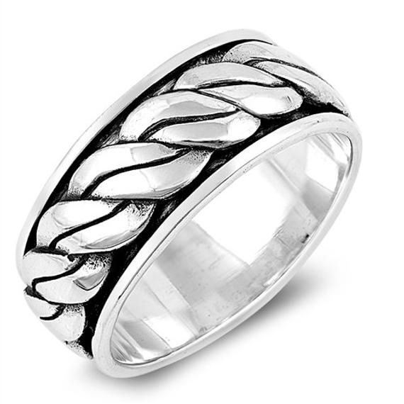 925 Sterling Silver Wedding Band Oxidized Finish Braided Rope Spinner Ring(SNRP1…   – Products