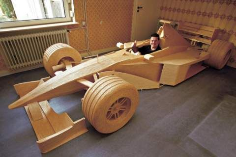 Michael Arndt is a man of matchsticks. Over the course of six years, using 956,000 matchsticks, 1686 tubes of glue, and at least three different varieties of mustache, he built a full-scale replica of a McLaren 4/14 F1 car, at a cost of around 6000 Euros. The giant model takes up Arndt's entire kitchen and probably his social life. It can be broken down into 45 parts for easy transport to various matchstick-builders conventions.