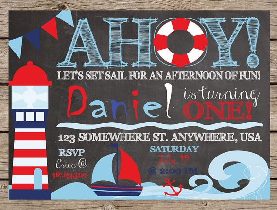 Nautical Invitation Chalkboard Invite First Birthday Nautical Birthday PRINTABLE / PRINTED Summer Birthday Sailboat Beach Ocean Pool Party #kids #quotes #birthday