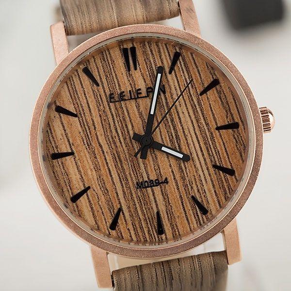 Archaize Stripe Men Women Wood Grain Watch = 1956884996