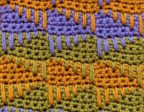 #CROCHET ~ The spike stitch is merely a single crochet placed 2 or more rows below your working row and drawn up to the height of a standard sc. A SP-2 would be a spike stitch worked 2 rows below, and a SP-4 would be one worked into the 4th row down from your working row.