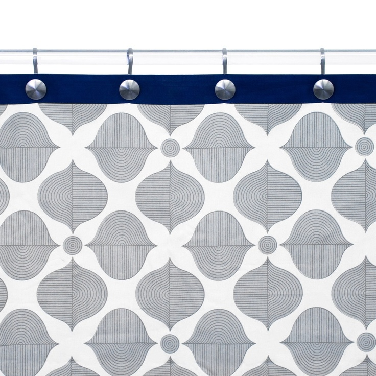 Jonathan Adler Hollywood Grey Navy Shower Curtain Home