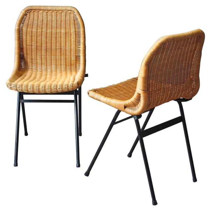 Dutch Rattan Chairs By Dirk Van Sliedregt For Rohé Noordwolde, Set Of Two |  From