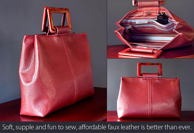 Tuto to make this stylish faux leather handbag. Looks great!: Leather Pur, Diy Bags, Bags Patterns, Leather Handbags, Trendy Faux, Leather Totes, Handbags Tutorials, Faux Leather, Leather Bags
