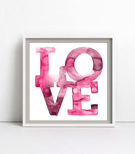 LOVE 2, Aquarell, Poster 30x30cm von goodgirrrl auf DaWanda.com