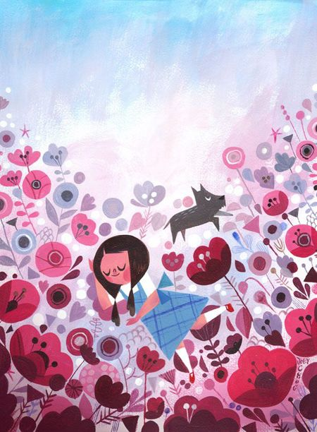 Dorothy in the Poppy Field by Joey Chou.  Acrylic on Canvas.