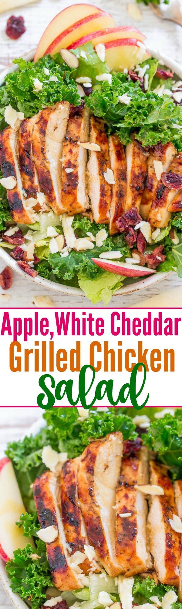Apple, White Cheddar, and Grilled Chicken Salad - Averie Cooks