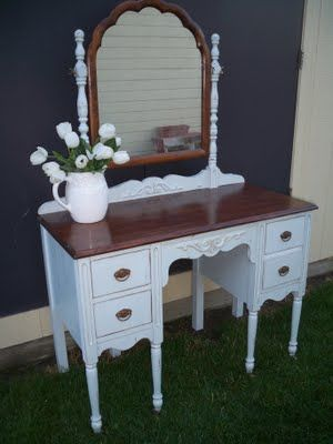 Wonderful refinished vanity! Love stained tops with painted bodies!