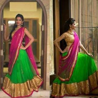 Green and pink simple langa voni