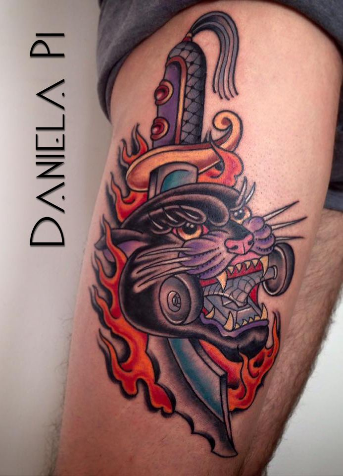 Traditional Panther done by Daniela PI @ Evil Machines Tattoo