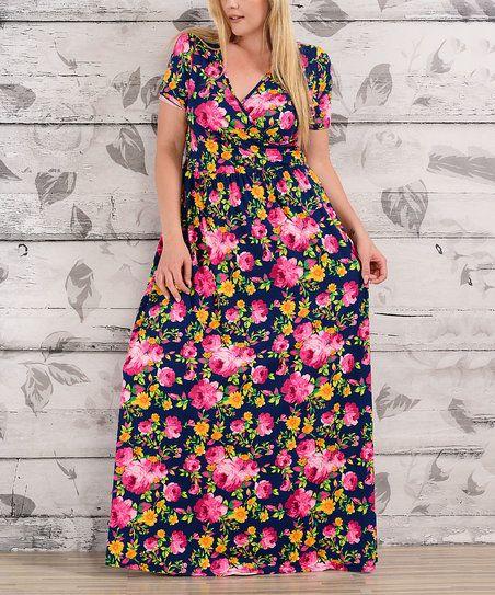 Evelie Navy & Fuchsia Floral Surplice Maxi Dress - Plus   zulily