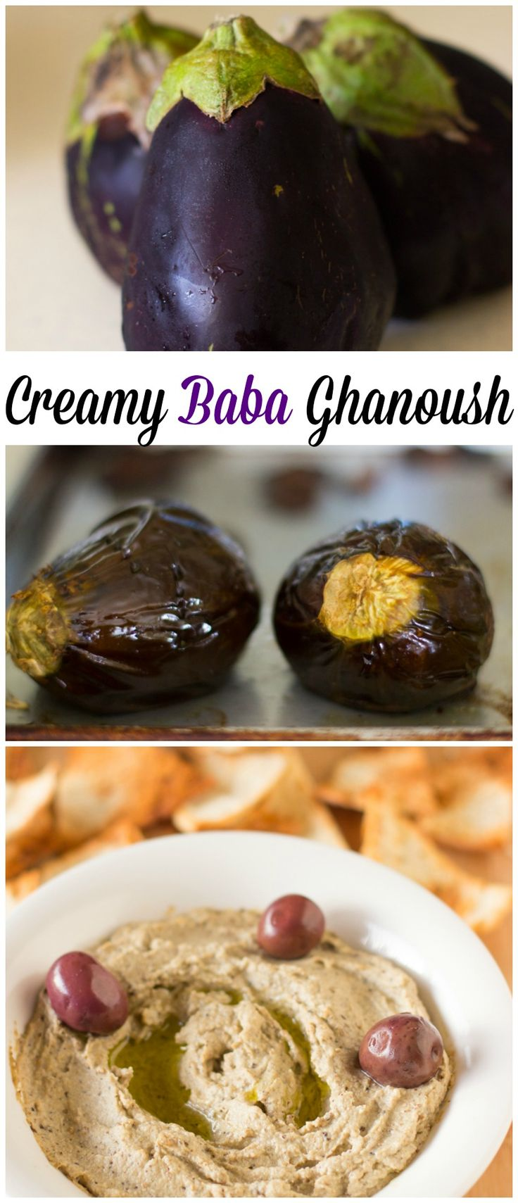 Baba Ghanoush is a creamy, classic Mediterranean eggplant dip that with a touch of sweetness makes a crowd pleaser! #vegan #vegetarian #eggp...