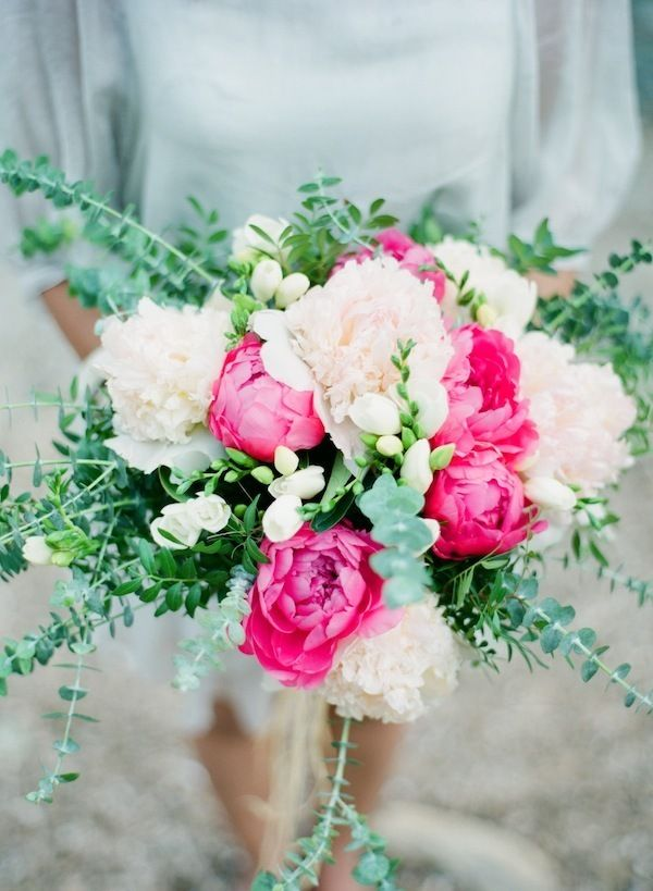 Peonies - trade bright pink for white and that's what I want for my bouquet!  tied with gold ribbon of course..