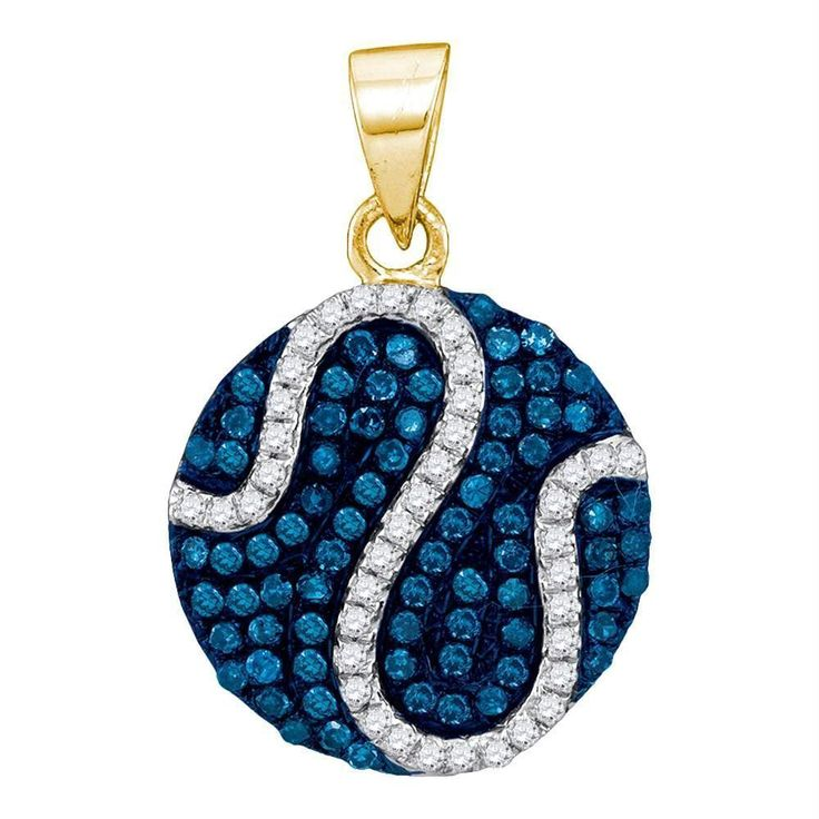 10kt Yellow Gold Women's Round Blue Color Enhanced Diamond Circle Stripe Pendant 3-8 Cttw - FREE Shipping (US/CAN)