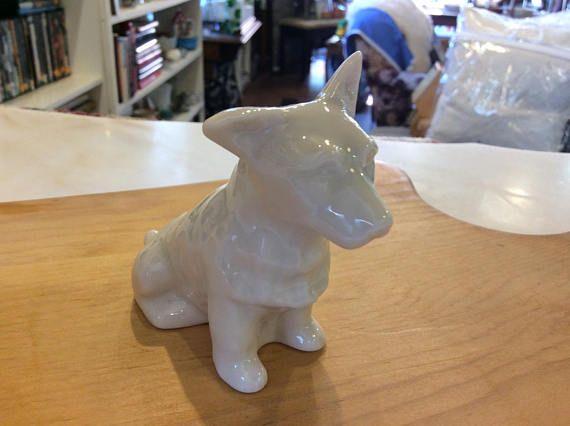 Belleek English white ceramic dog