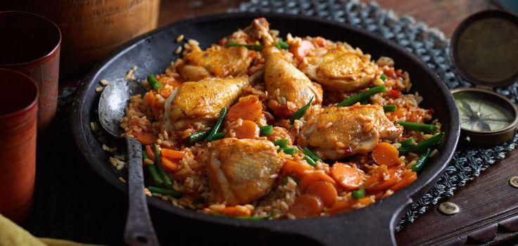 Jollof (Tomaten-Reis mit Hähnchen)