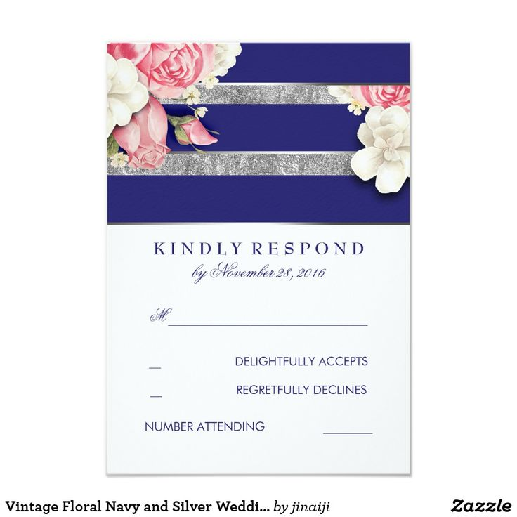 Vintage Floral Navy and Silver Wedding RSVP Card White, navy and silver vintage floral wedding reply cards