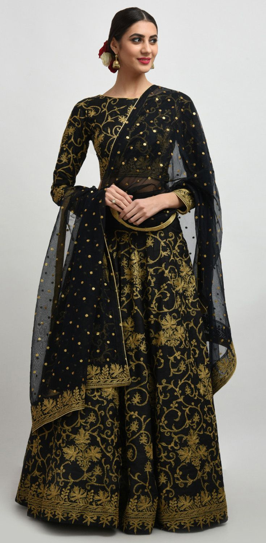 94b86d2e92396e Black Gold Tilla Embroidered Pure Raw Silk Lehenga Dress