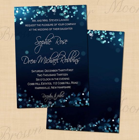 These Unique Midnight Blue Bokeh Wedding Invitations Are Perfect For An Evening And They Peacock InvitationsPrintable