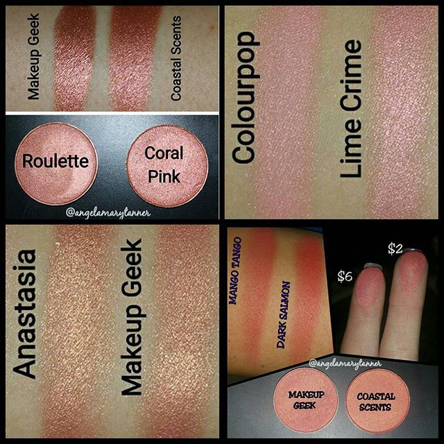 DUPES: Makeup geek roulette and Coastal scents coral pink, Colourpop cheeky and lime crime shell, Anastasia Beverly Hills China rose and Makeup geek cosmopolitan, makeup geek mango tango and coastal scents dark salmon